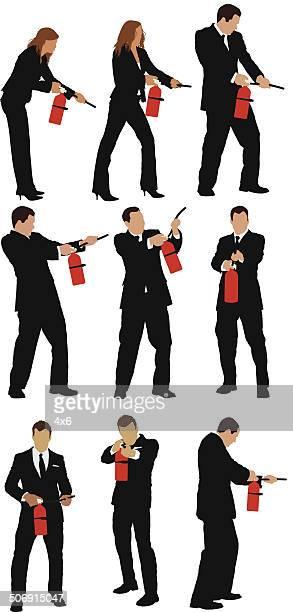 Los empresarios con extintor