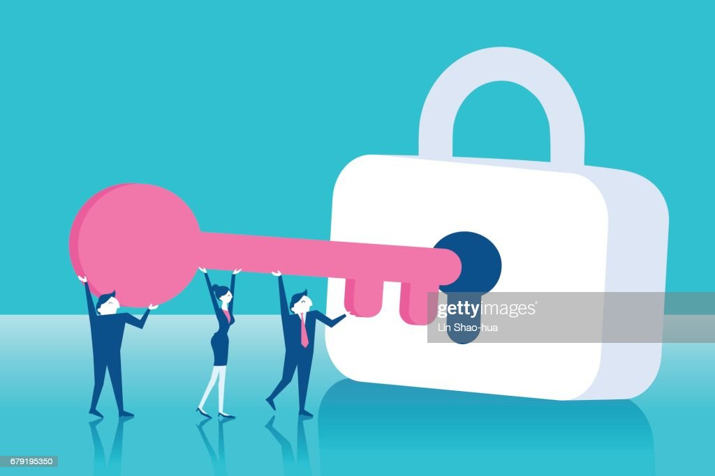 businesspeople with lock