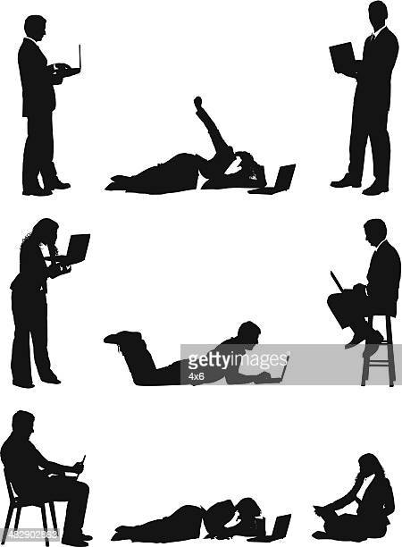 businesspeople working from anywhere with laptops - lying on front stock illustrations, clip art, cartoons, & icons