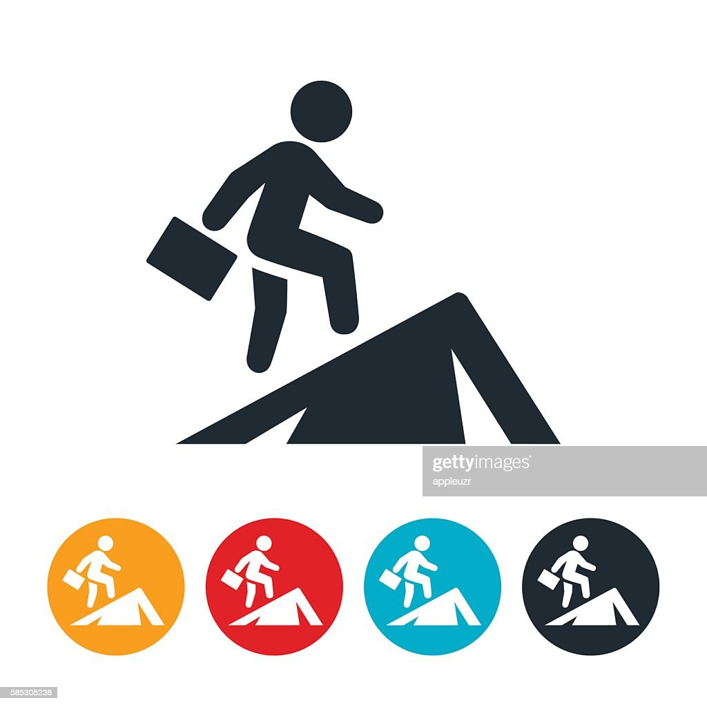 Businessperson Climbing Mountain Icon