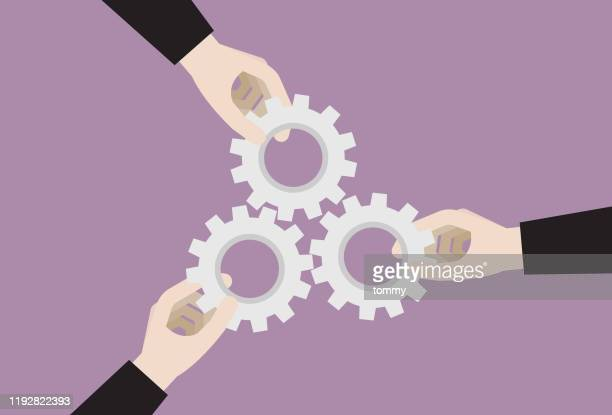 businessperson holding a three gear together - sharing economy stock illustrations
