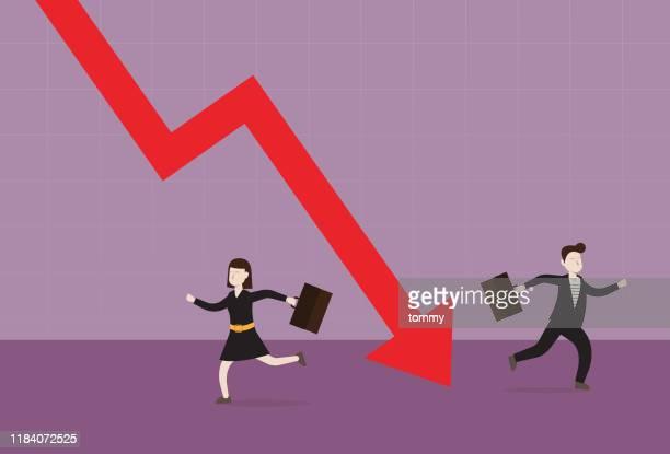 ビジネスマンは株式市場のグラフから逃げる - 下方点のイラスト素材/クリップアート素材/マンガ素材/アイコン素材