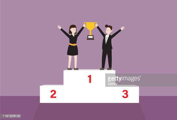 businesspersons with trophy standing on winner podium - medallist stock illustrations