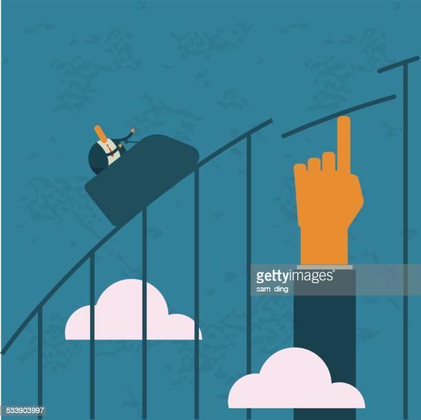 ビジネスやローラーコースター、リスク、ヘルプ、リフト