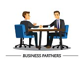 businesss and office concept - two businessmen shaking hands,Vector illustration cartoon character