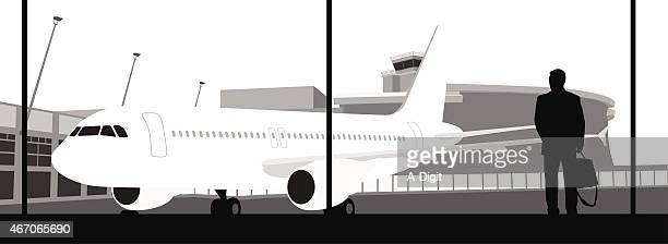 businesstraveller - airport terminal stock illustrations, clip art, cartoons, & icons