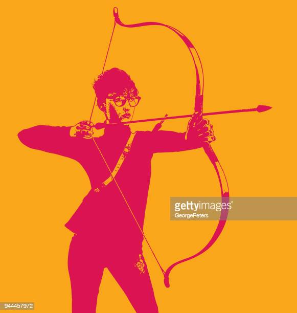 Businesswoman aiming bow and arrow