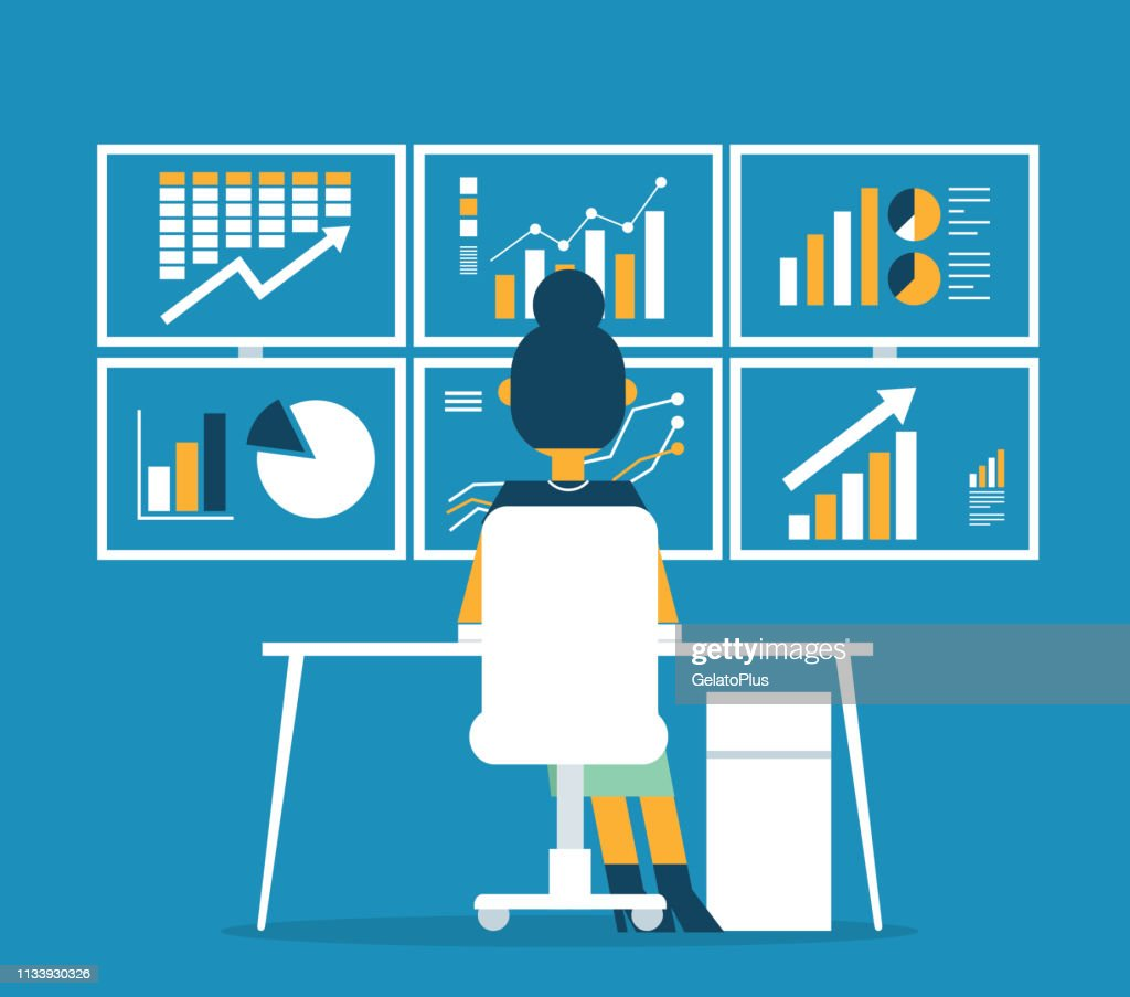 Businesswoman analytics business graph and seo on web : stock illustration