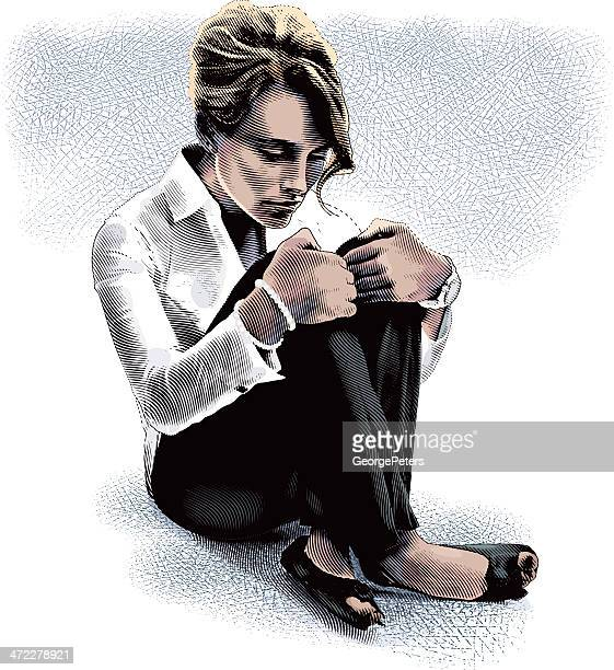 businesswoman and anxiety - bankruptcy stock illustrations