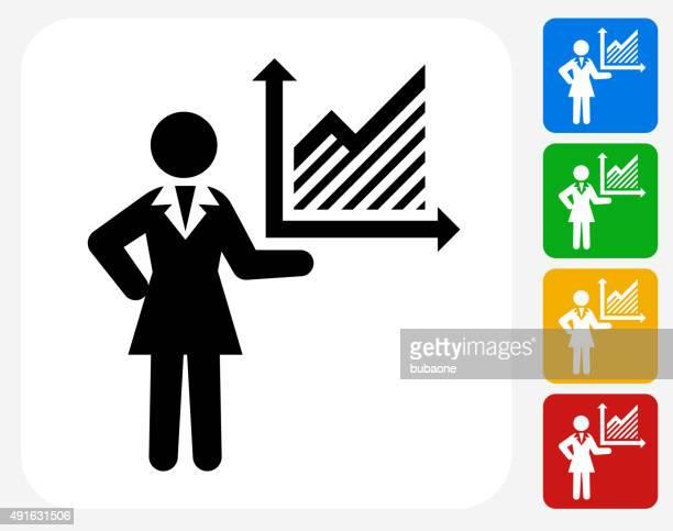 Mujer de negocios y tablas de iconos planos de diseño gráfico