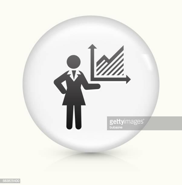 Mujer de negocios y tablas icono sobre un botón de vectores redondo y blanco