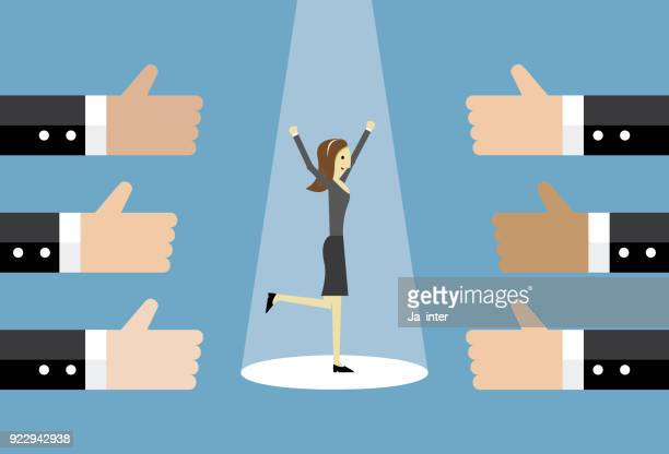 ilustraciones, imágenes clip art, dibujos animados e iconos de stock de empresaria y muchos las manos los pulgares para arriba - gracias