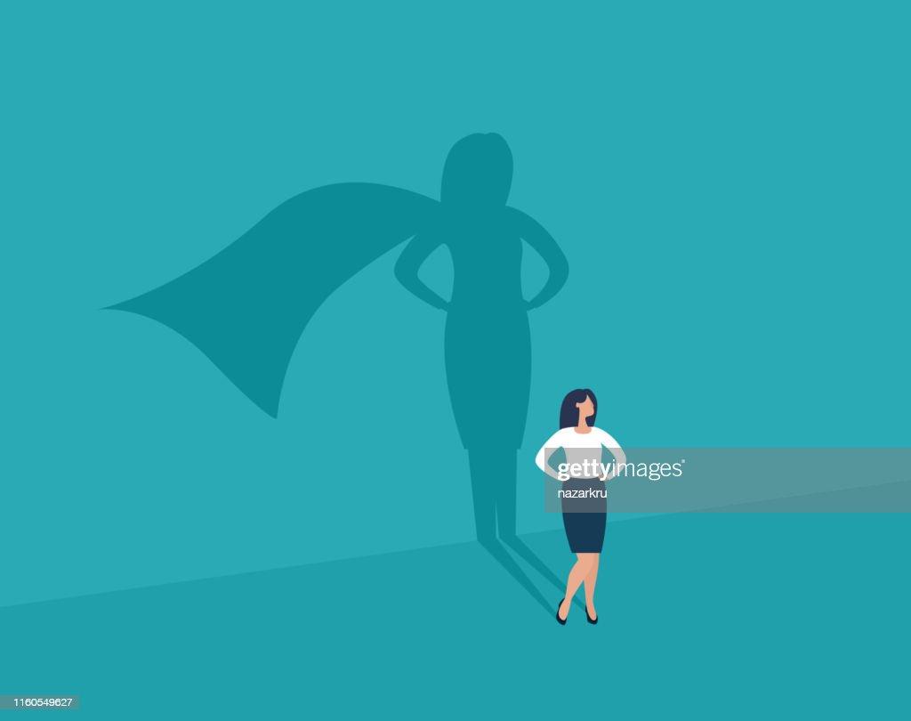 Businesswoman and shadow superhero. : stock illustration