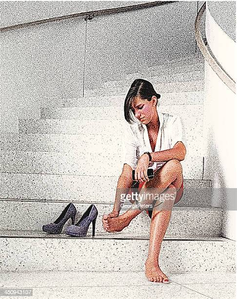 businesswoman and sore feet - high heels stock illustrations