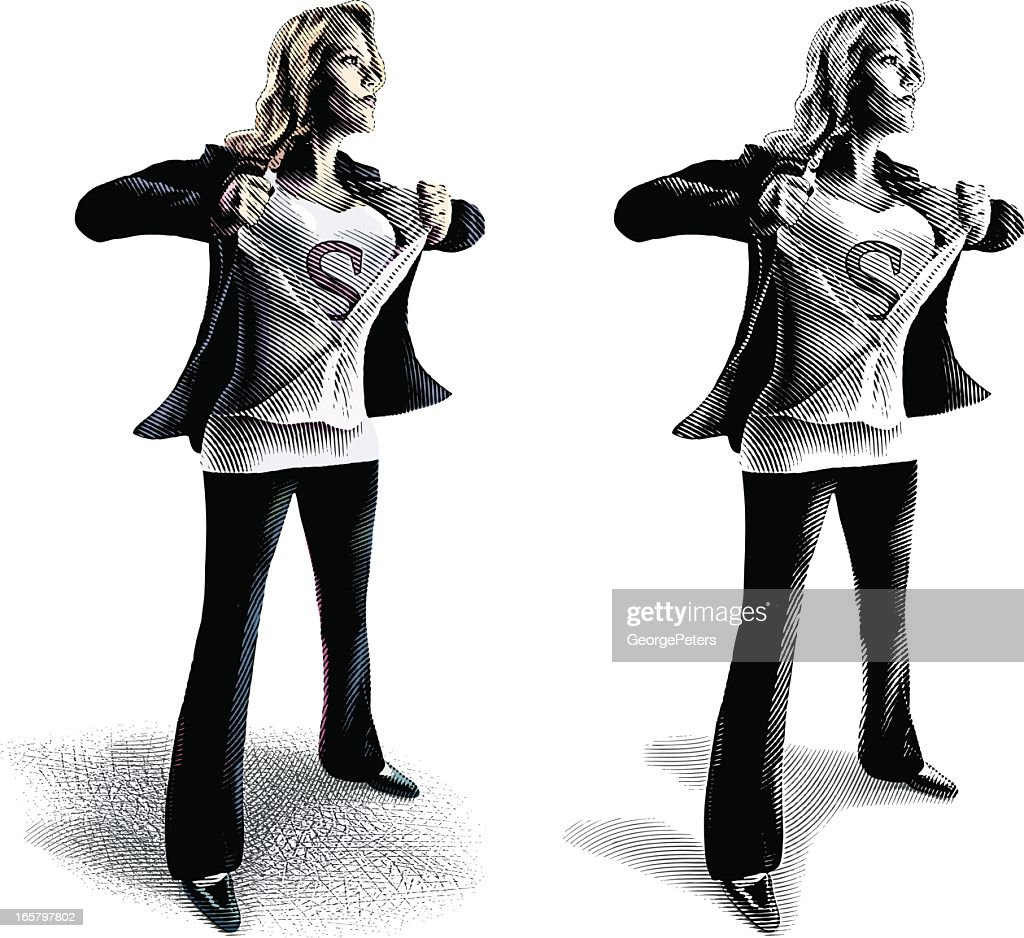 Businesswoman as Superwoman : stock illustration