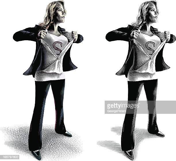 businesswoman as superwoman - chest torso stock illustrations, clip art, cartoons, & icons