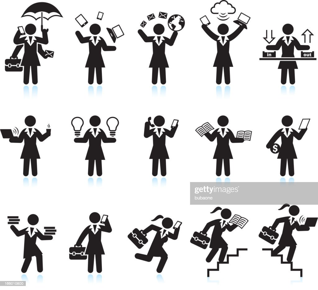 Businesswoman Assistant Hectic Life black & white vector icon set