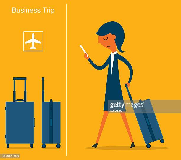 businesswoman at the airport - business travel stock illustrations, clip art, cartoons, & icons
