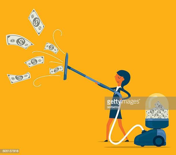 Businesswoman attracts money