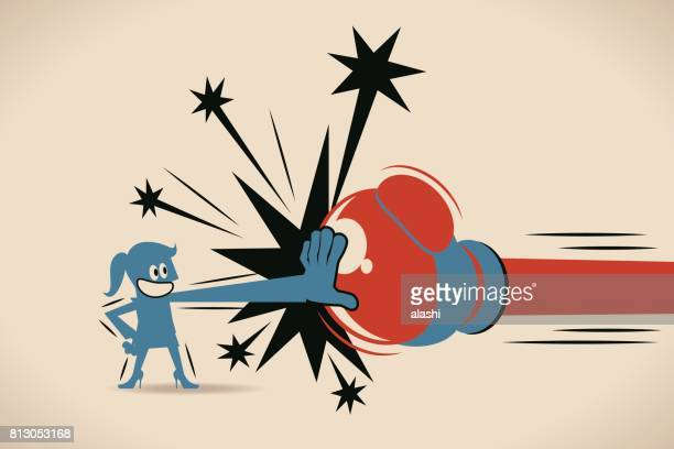 businesswoman (woman, girl) block jabs & straight punches (big boxing glove) - agression stock illustrations, clip art, cartoons, & icons