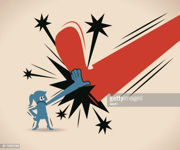 ilustrações, clipart, desenhos animados e ícones de empresária (mulher, menina) bloquear um chute (pé grande), com uma mão, o conceito de poder de mulher - crime