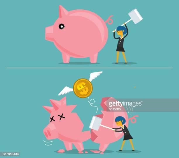 businesswoman broken piggy bank - relief emotion stock illustrations, clip art, cartoons, & icons