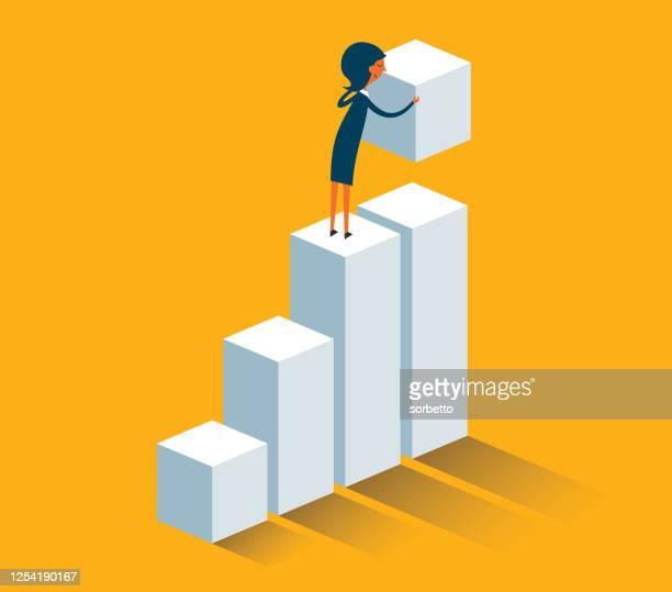 illustrazioni stock, clip art, cartoni animati e icone di tendenza di donna d'affari costruzione passi - diagramma a colonne