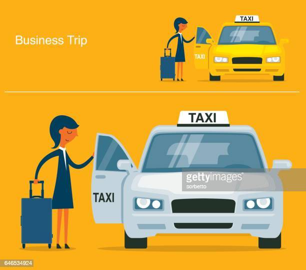 businesswoman calling for a taxi - taxi stock illustrations, clip art, cartoons, & icons