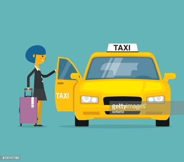 businesswoman calling for a taxi - yellow taxi stock illustrations, clip art, cartoons, & icons