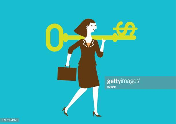 Businesswoman Carries a Key to Wealth (Dollar) | New Business Concept