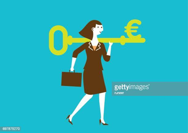 Businesswoman Carries a Key to Wealth (EURO) | New Business Concept
