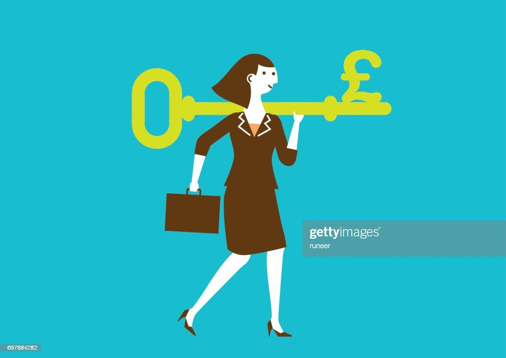 Businesswoman Carries a Key to Wealth (Pound) | New Business Concept : stock illustration