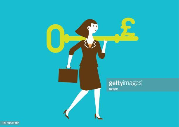 Businesswoman Carries a Key to Wealth (Pound) | New Business Concept