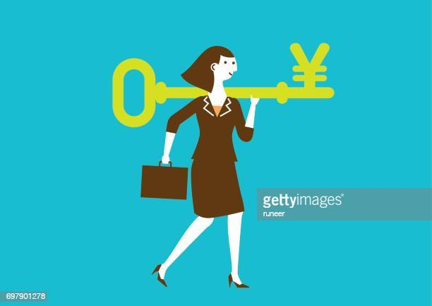Businesswoman Carries a Key to Wealth (Yuan/Yen) | New Business Concept