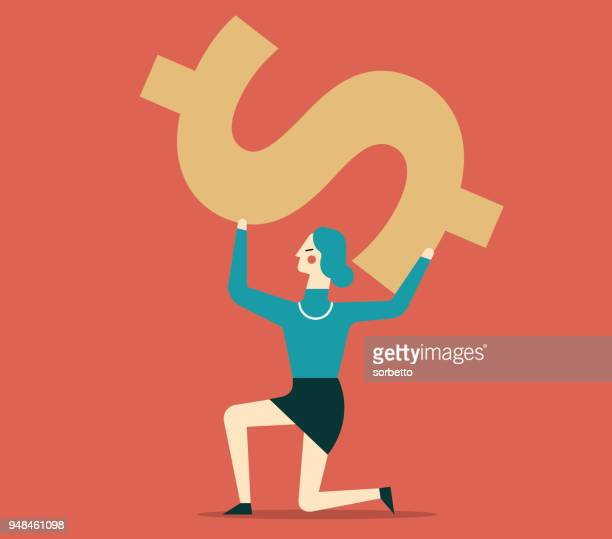 businesswoman carrying a giant dollar sign - interest rate stock illustrations