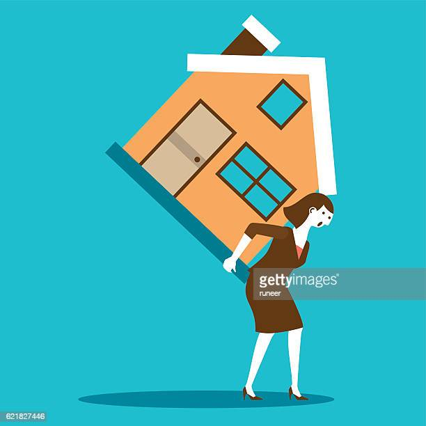 Businesswoman Carrying a House | New Business Concept