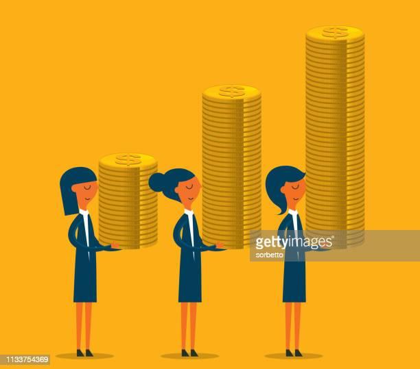 ilustraciones, imágenes clip art, dibujos animados e iconos de stock de empresaria que lleva una pila de monedas de oro - charity benefit