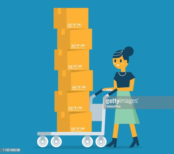 businesswoman carrying cardboard boxes - ordering stock illustrations, clip art, cartoons, & icons
