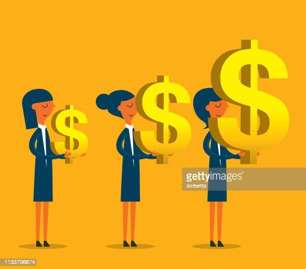 ilustraciones, imágenes clip art, dibujos animados e iconos de stock de empresaria que lleva el símbolo del dólar - charity benefit