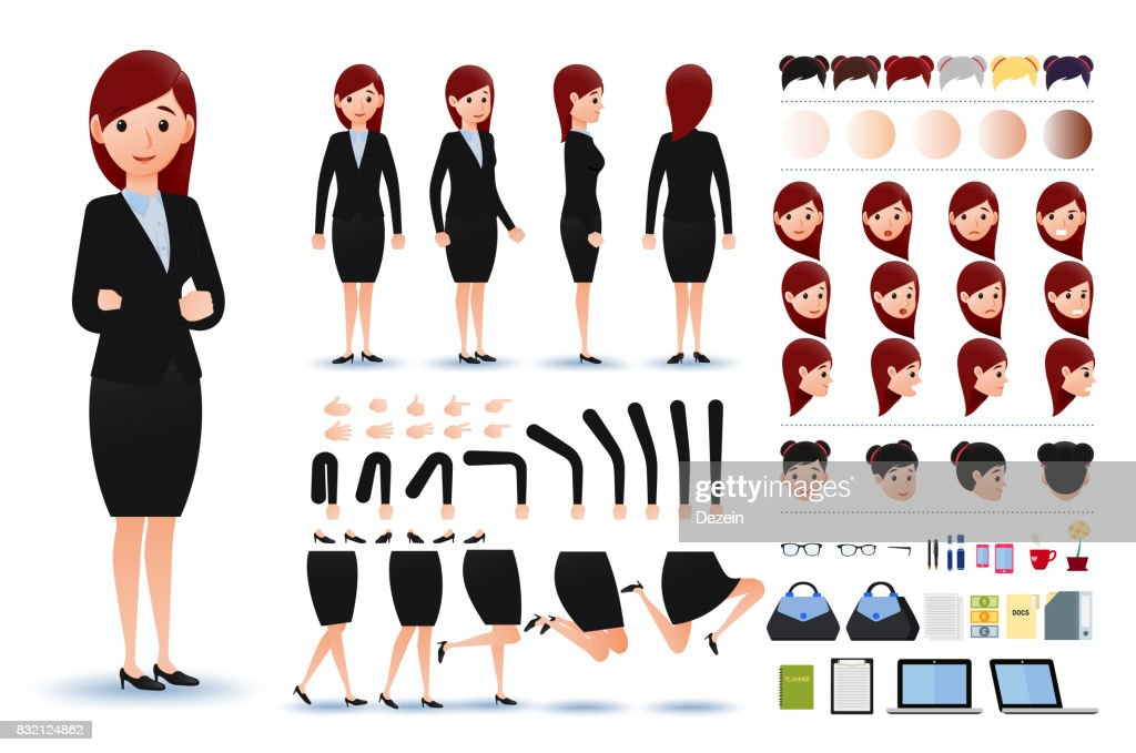 Businesswoman Character Creation Kit Template with Facial Expressions