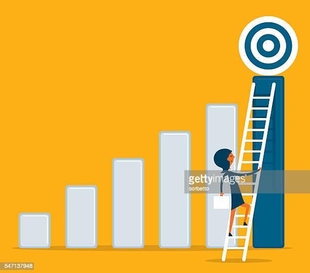 Businesswoman climbs ladder