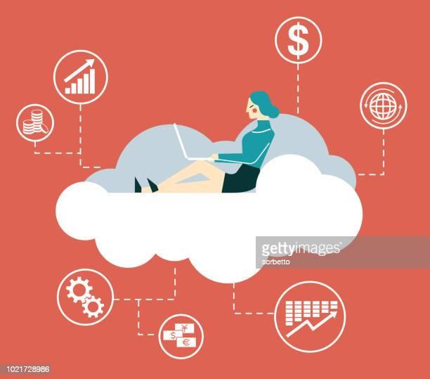 Businesswoman - Cloud Computing