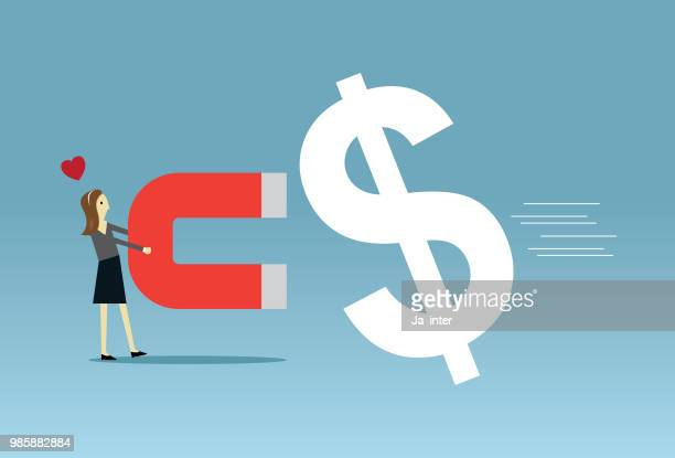 businesswoman collecting money - millionnaire stock illustrations, clip art, cartoons, & icons