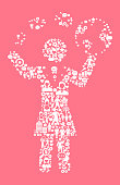 Businesswoman Communication  Women's Rights and Girl Power Icon Pattern