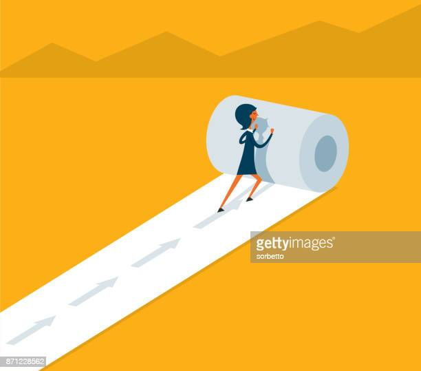 businesswoman create way to success - rolled up stock illustrations