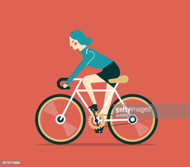 businesswoman cycling - bicycle stock illustrations