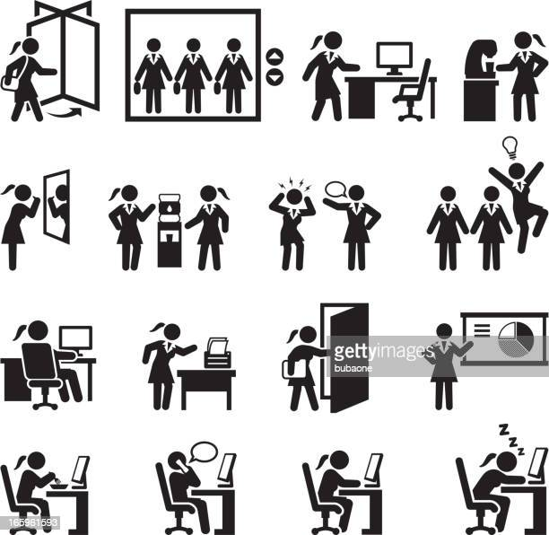 Businesswoman Daily Office Job black and white vector icon set