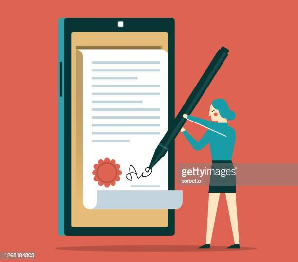 ビジネスウーマン - デジタル署名 - 証書点のイラスト素材/クリップアート素材/マンガ素材/アイコン素材