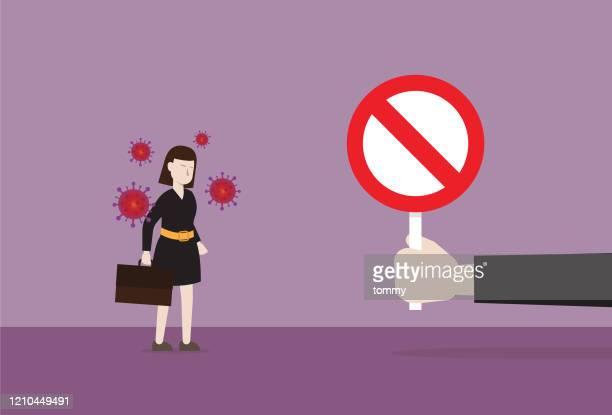 illustrations, cliparts, dessins animés et icônes de femme d'affaires n'autorise pas l'entrée dans un lieu de travail - panneau sens interdit