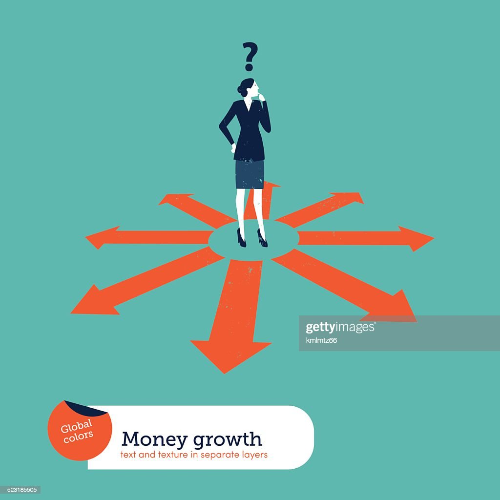Businesswoman doubting which direction is the best
